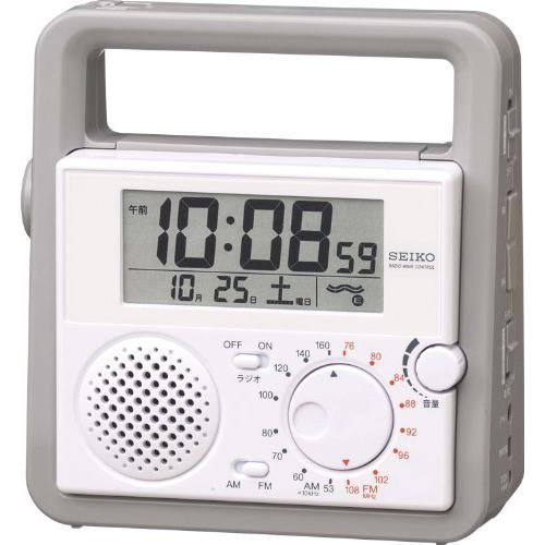SEIKO CLOCK (セイコー クロック) デジタル 防災 目覚し時計 ラジオ 懐中電灯 手動発電機