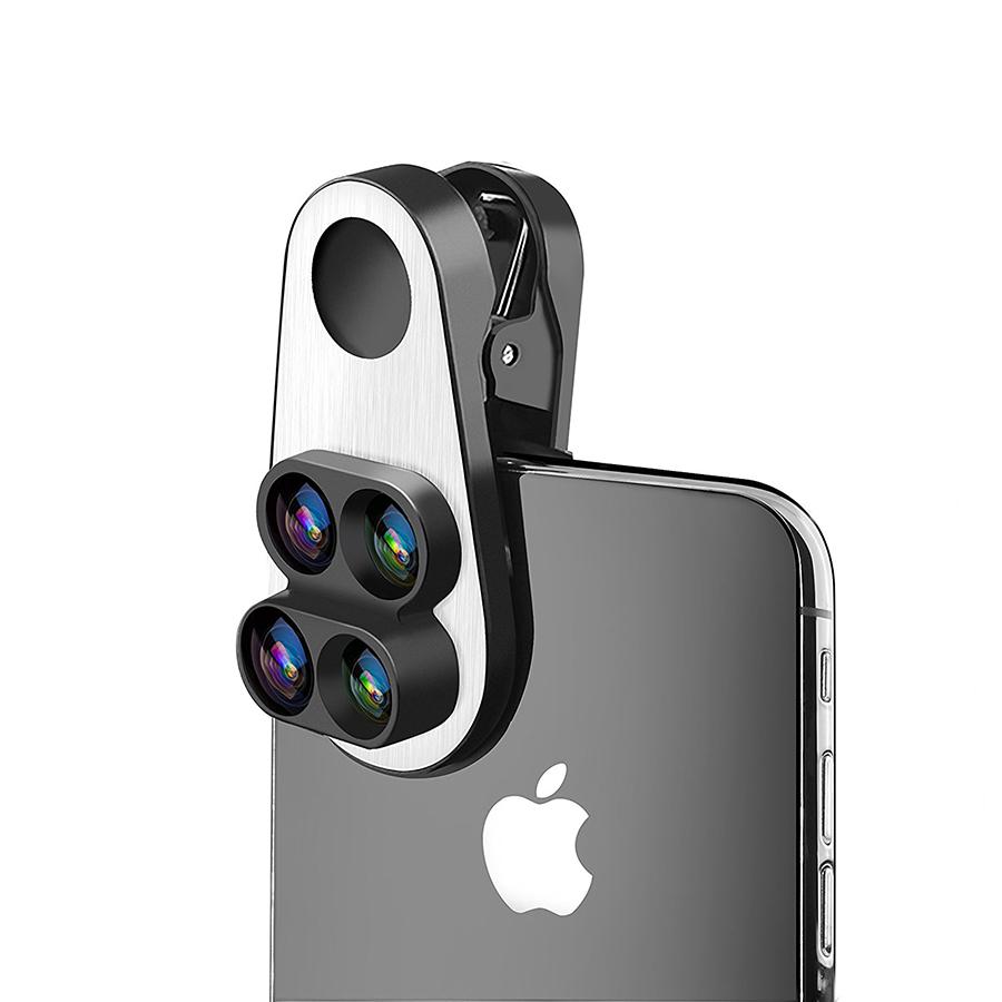 iPhone Xにも簡単に装着できるクリップ型レンズ