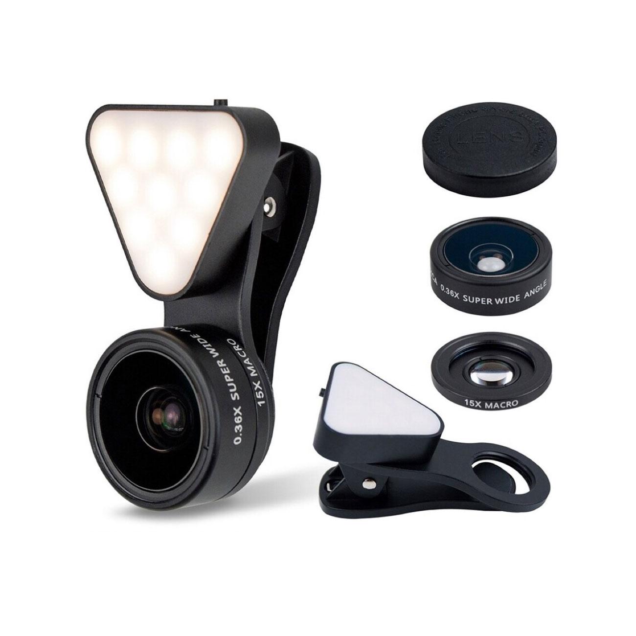 スマホ用カメラレンズ 1台3役 超広角レンズ マクロレンズ LEDライト