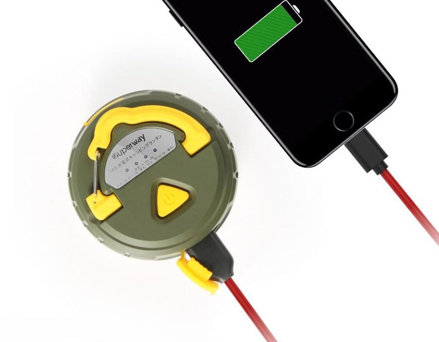 モバイルバッテリー機能付防水LEDランタン