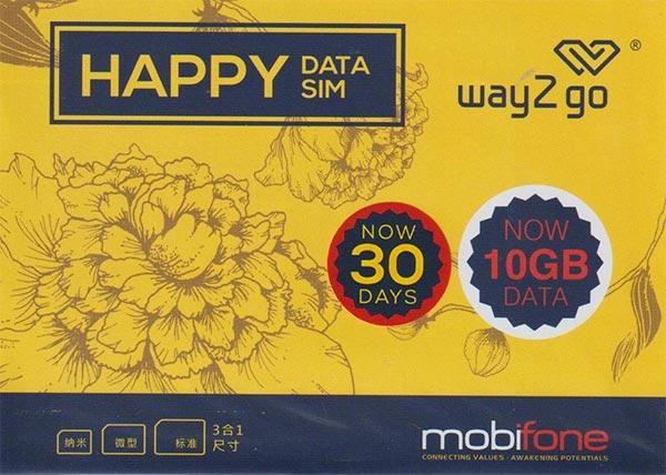 ベトナム プリペイドSIM 30日間 4G・3Gデータ通信10GB