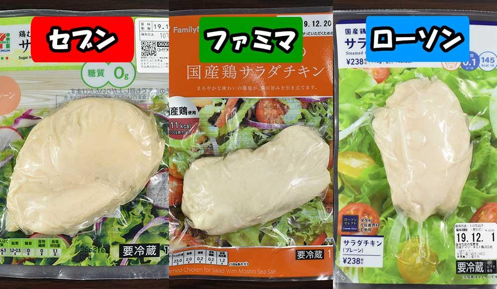 【コンビニ】食べ比べてみた! セブン・ファミマ・ローソンの「サラダチキン」