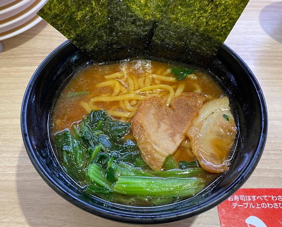 【無念】かっぱ寿司の家系ラーメン、麺はよかったがスープの醤油も薄く豚骨の獣感もなし